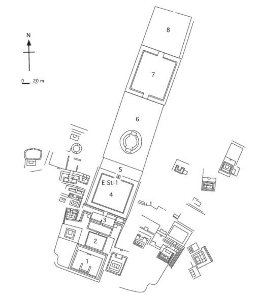 Plano del Complejo Arqueológico Las Haldas (Ilustración Kai Bischof)